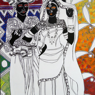Ethnic Serendipity 7 by Anuradha Thakur, Traditional Painting, Acrylic & Ink on Canvas, Gray color