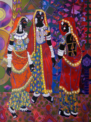 Ethnic Serendipity 8 Digital Print by Anuradha Thakur,Traditional