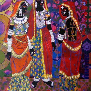 Ethnic Serendipity 8 by Anuradha Thakur, Traditional Painting, Acrylic on Canvas, Brown color