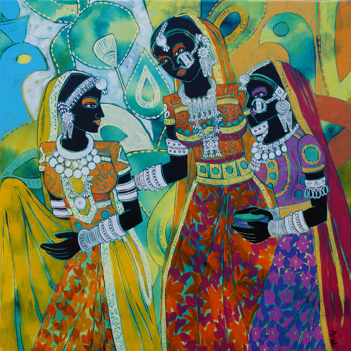 Ethnic Serendipity 41 by Anuradha Thakur, Traditional Painting, Acrylic on Canvas, Green color