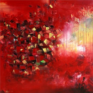 The Village of My Dreams 17 by M Singh, Impressionism Painting, Acrylic on Canvas, Red color