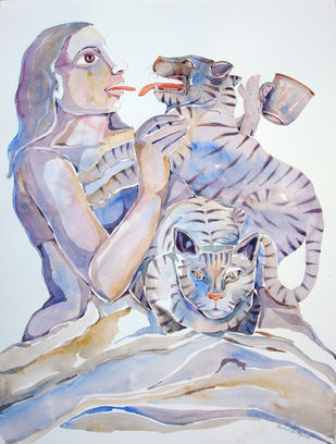 Philanthropist - 3 by Anand Gadapa, Expressionism Painting, Watercolor on Paper, Gray color