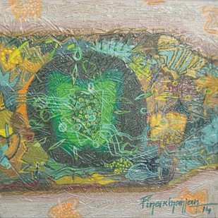 Unspoken Understatement by Pinaki Ranjan Bera, Conceptual Painting, Acrylic on Canvas, Beige color