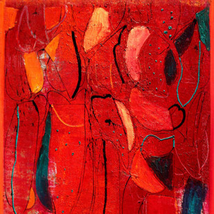Revelation 16 by Hem Raj, Abstract Painting, Oil on Linen, Red color