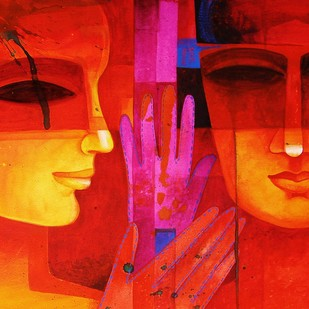 Nautanki by Chaitali Mukherjee, Expressionism Painting, Watercolor on Paper, Red color