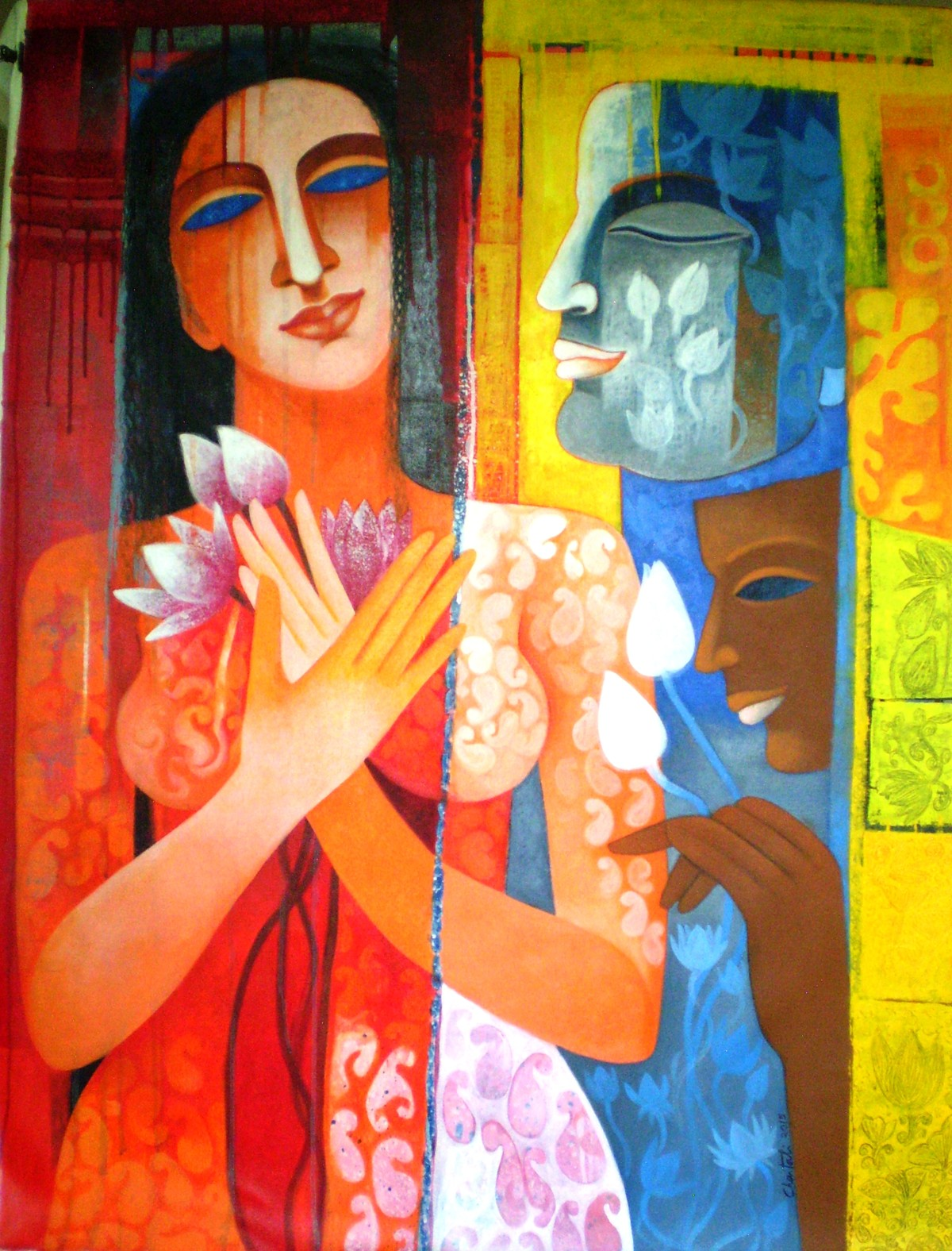 Faces on Faces by Chaitali Mukherjee, Expressionism Painting, Acrylic on Canvas, Brown color