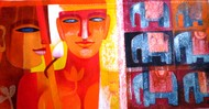Faces on Faces by Chaitali Mukherjee, Expressionism Painting, Acrylic on Canvas, Red color