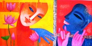 Faces on Faces by Chaitali Mukherjee, Expressionism Painting, Acrylic on Canvas, Orange color
