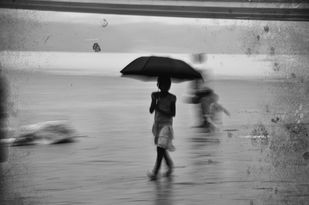 In the Rain by Debabrata Sarkar, Image Photography, Digital Print on Paper, Gray color