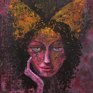 Desire Dream by Ram Thorat, Painting, Acrylic on Canvas, Brown color