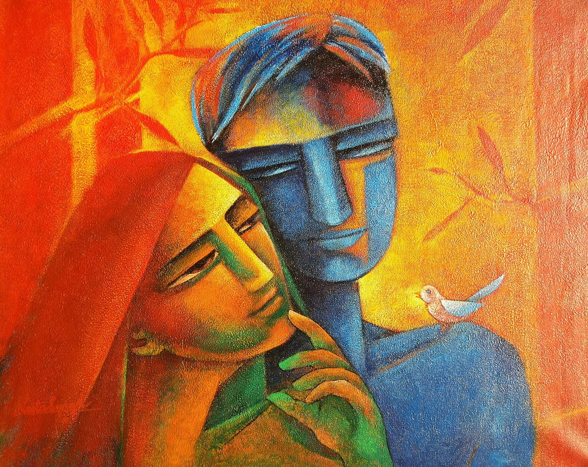 Samwaad by Neeta Singh, Decorative Painting, Acrylic on Canvas, Brown color