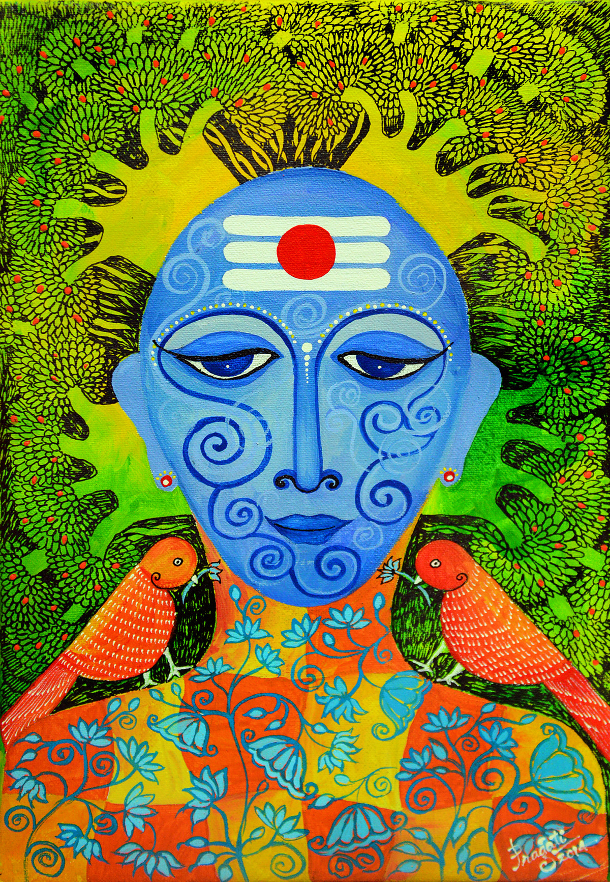 Krishna 01 by Pragati Sharma Mohanty, Traditional Painting, Acrylic & Ink on Canvas, Green color