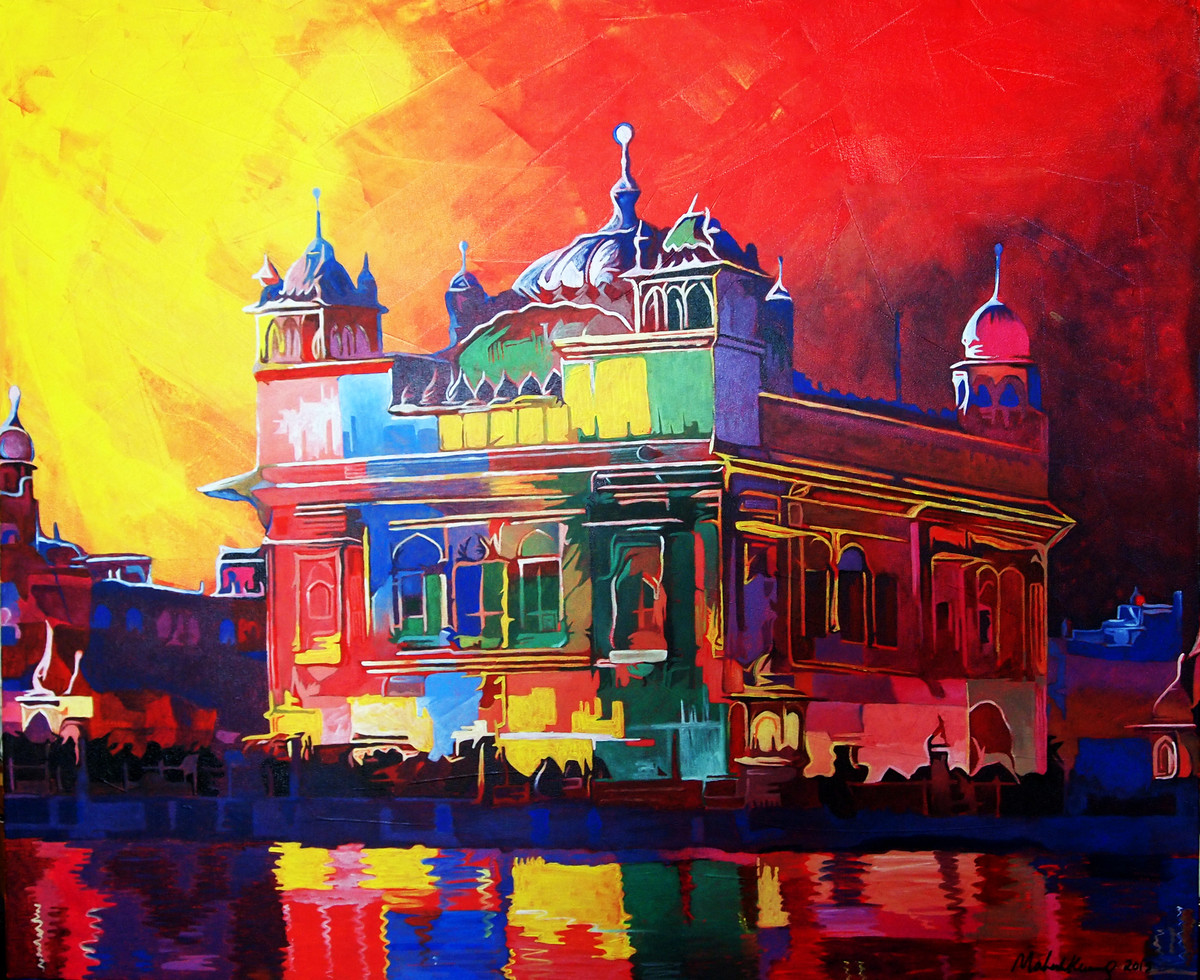 Twilight Golden Temple by Mahesh Kummar, Impressionism Painting, Acrylic on Canvas, Brown color