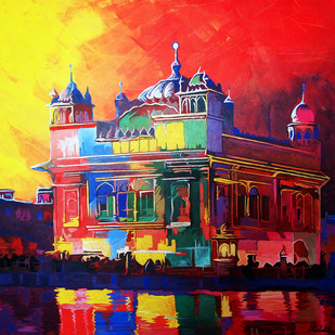 Twilight Golden Temple Digital Print by Mahesh Kummar,Impressionism