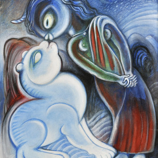 The Kiss by Satwant Singh, Conceptual Painting, Acrylic on Canvas, Blue color