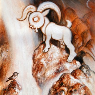 The Lamb of Innocence by Satwant Singh, Conceptual Painting, Acrylic on Canvas, Brown color