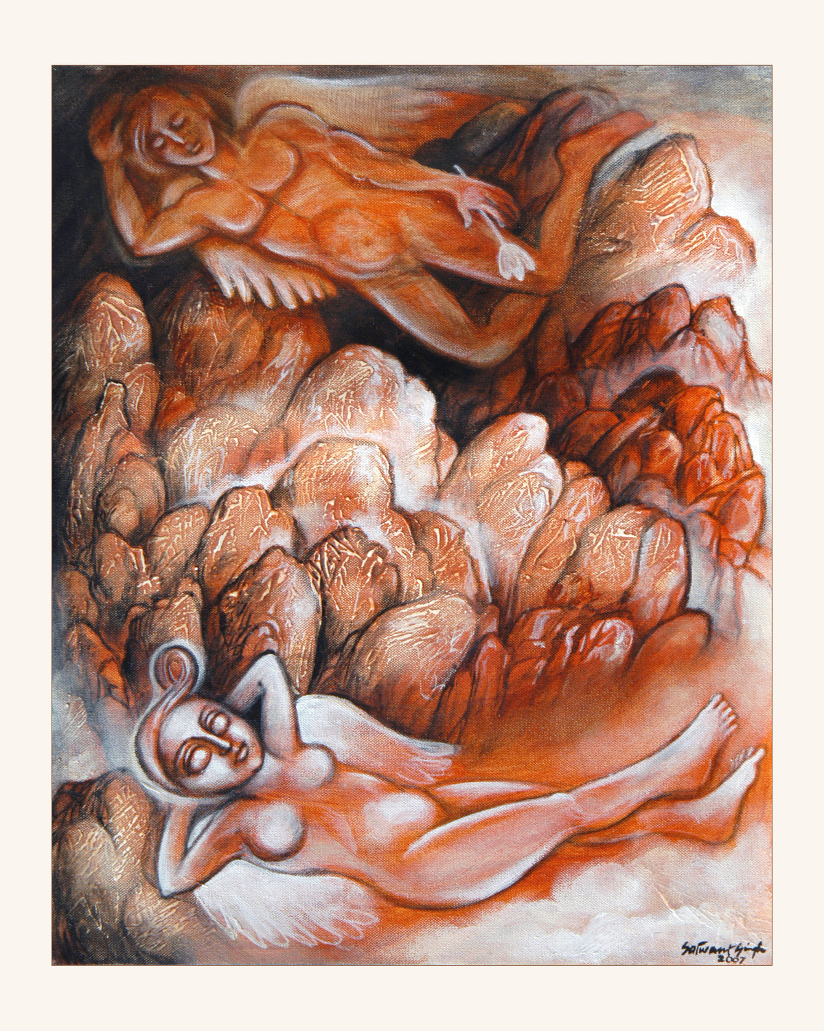 The Lovers by Satwant Singh, Conceptual Painting, Acrylic on Canvas, Brown color