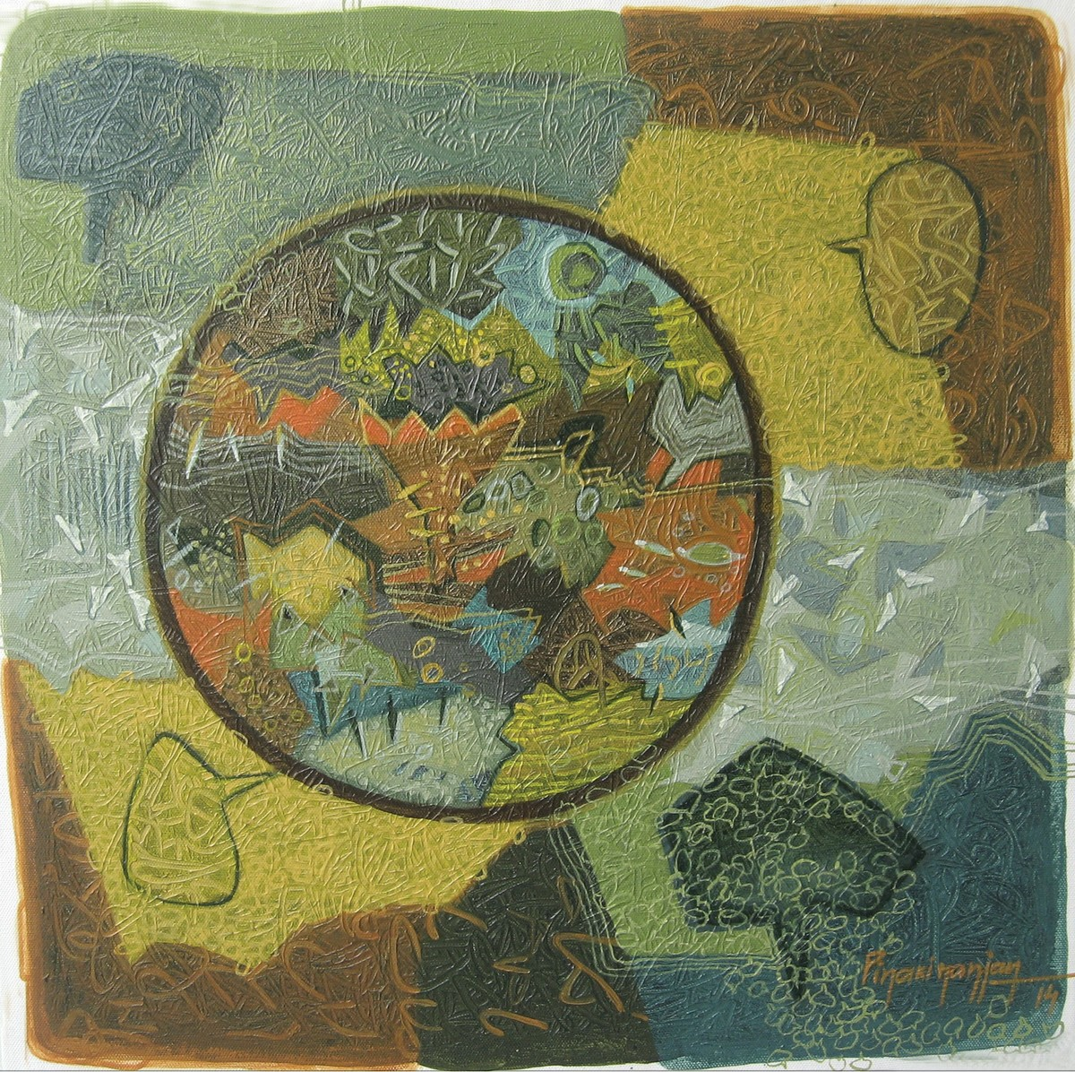 Palette of Season by Pinaki Ranjan Bera, Conceptual Painting, Acrylic on Canvas, Green color