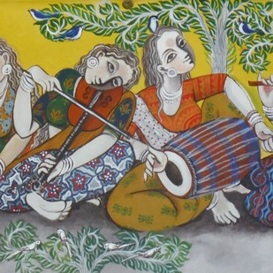 Orchestra by Jayshree P Malimath, Traditional Painting, Acrylic on Canvas, Brown color