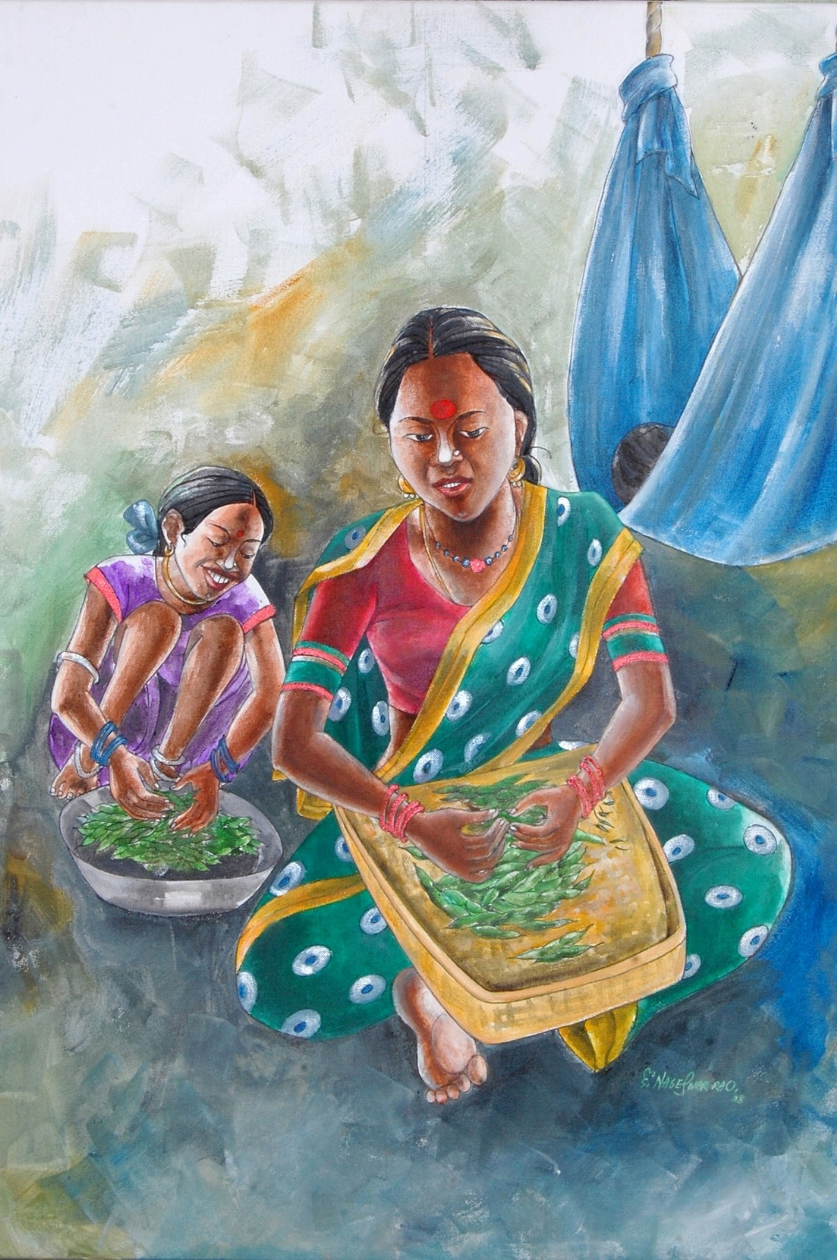 Helping Daughter by Konduru Nageswar Rao, Conceptual Painting, Acrylic on Canvas, Green color