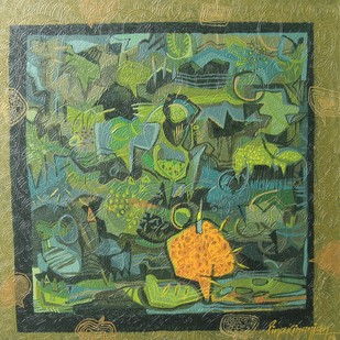 Rambling Ambience by Pinaki Ranjan Bera, Conceptual Painting, Acrylic on Canvas, Green color