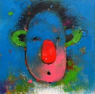 Face 2 by Amol Pawar, Expressionism Painting, Oil & Acrylic on Board, Blue color