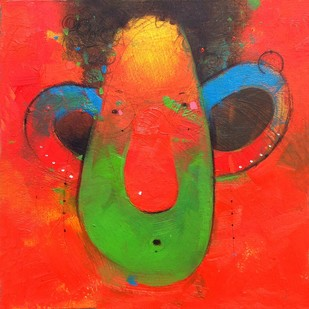 Face 3 by Amol Pawar, Expressionism Painting, Oil & Acrylic on Board, Red color