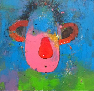 Face 5 by Amol Pawar, Expressionism Painting, Oil & Acrylic on Board, Blue color