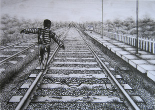 An attepmt to balance a life by Rahul Dhiman, Illustration Printmaking, Lithography on Paper, Gray color