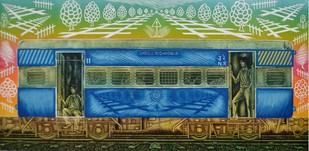 6:40 ki last local. by Rahul Dhiman, Pop Art Printmaking, Wood Cut on Paper, Green color
