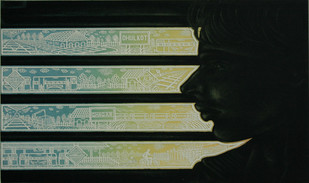 Daily Route by Rahul Dhiman, Pop Art Printmaking, Etching on Paper, Black color