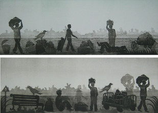 Daily Life by Rahul Dhiman, Printmaking, Etching on Paper, Gray color