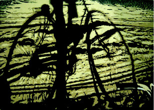 Struggle to Ride by Rahul Dhiman, Pop Art Printmaking, Wood Cut on Paper, Green color