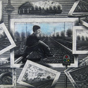 An awaited signal by Rahul Dhiman, Pop Art Printmaking, Etching on Paper, Gray color