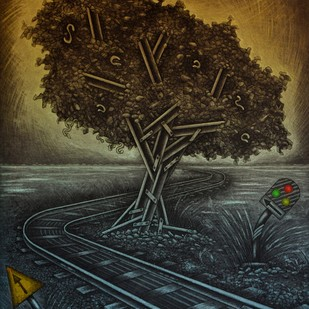 When the Track meets Nature by Rahul Dhiman, Pop Art Printmaking, Etching on Paper, Brown color
