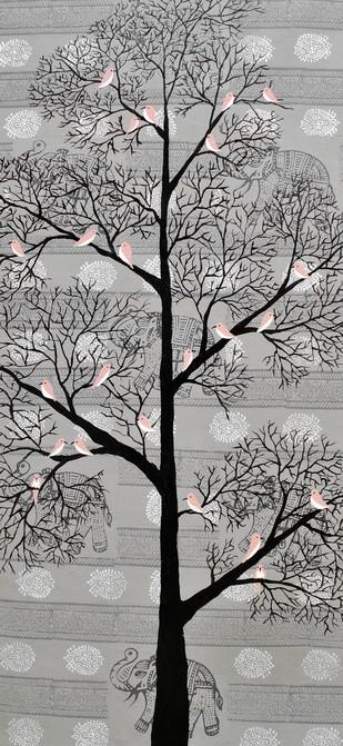 Karvabham by Sumit Mehndiratta, Decorative Painting, Acrylic on Canvas, Gray color