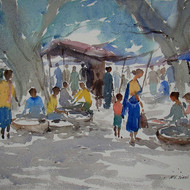 Village market  11x15 inches  watercolour on paper 2012
