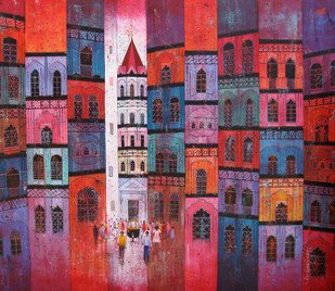City - 534 by Suresh Gulage, Art Deco Painting, Acrylic on Canvas, Brown color