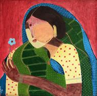 Blue Flower Series by Siddharth Katragadda, Painting, Acrylic on Canvas, Green color