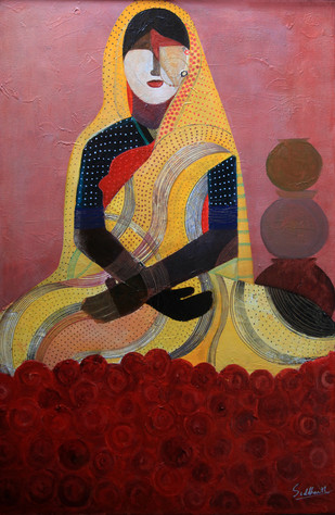 Flower Seller by Siddharth Katragadda, Painting, Acrylic on Canvas, Brown color