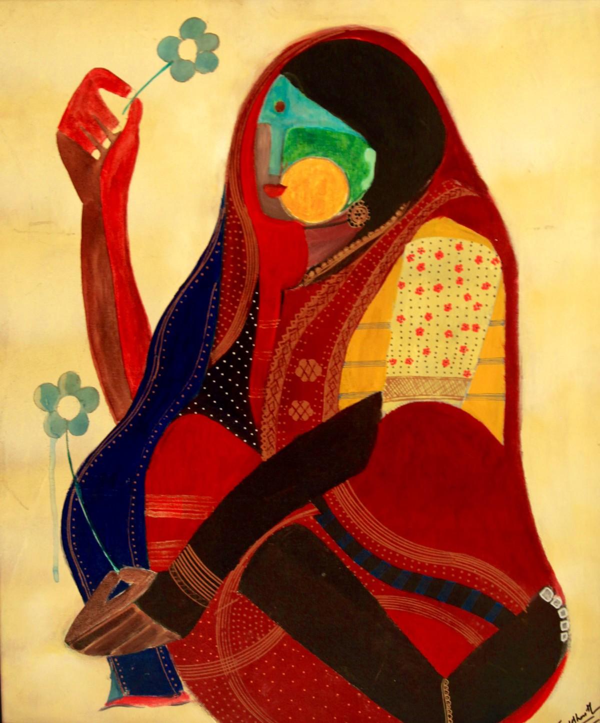 Blue Flower Series by Siddharth Katragadda, Painting, Acrylic on Board, Beige color