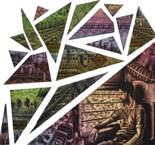 Daily Route - 2 by Rahul Dhiman, Pop Art Printmaking, Etching on Paper, Brown color