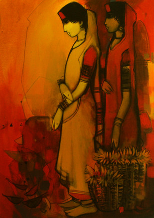Two Girls by Sachin Sagare, , , Brown color