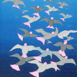 The take off by Hemavathy Guha, Decorative Painting, Oil & Acrylic on Canvas, Blue color