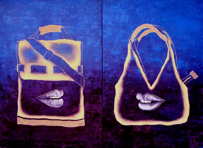 Gossip by Puja Sarkar, Pop Art Painting, Acrylic on Canvas, Blue color