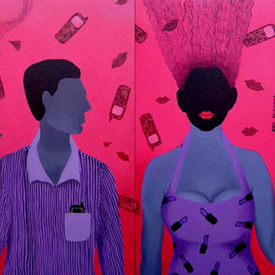 He and She by Puja Sarkar, Pop Art Painting, Acrylic on Canvas, Purple color
