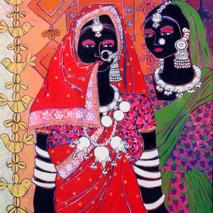 Serene Harmony 20 by Anuradha Thakur, Traditional Painting, Acrylic on Canvas, Red color