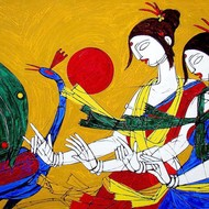 Tribal dance 1 36x51 inches. acrylic on canvas  rs7000  2010 iac new0