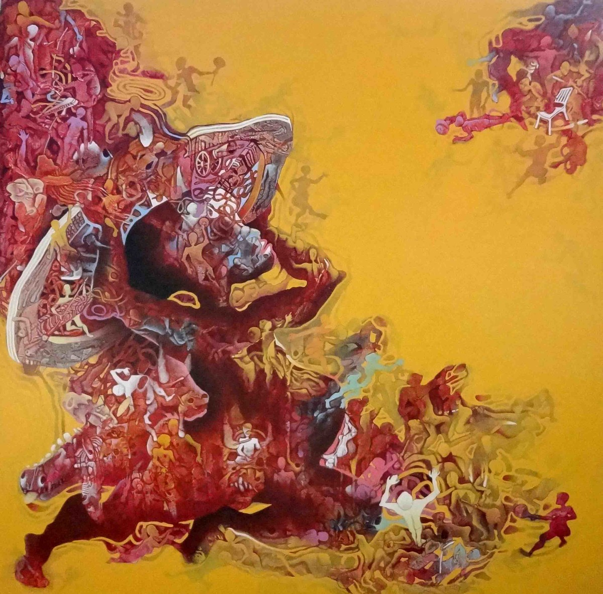Abhimanyu by Mahesh Pal Gobra, Expressionism Painting, Acrylic & Ink on Canvas, Brown color