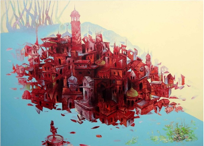 Lake City of Bhopal by Mahesh Pal Gobra, Expressionism Painting, Acrylic on Canvas, Brown color